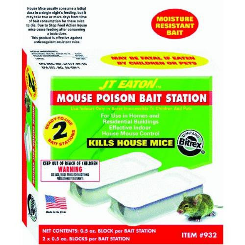 JT Eaton 932 2-Pack Top Gun Disposable Mouse Bait Station with 1-Ounce of Bait - Fresh Colony