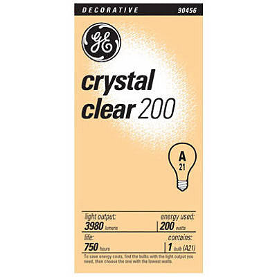 GE Lighting 16069 200-Watt 3780-Lumen A21 Bright Reader Light Bulb, Crystal Clear - Fresh Colony