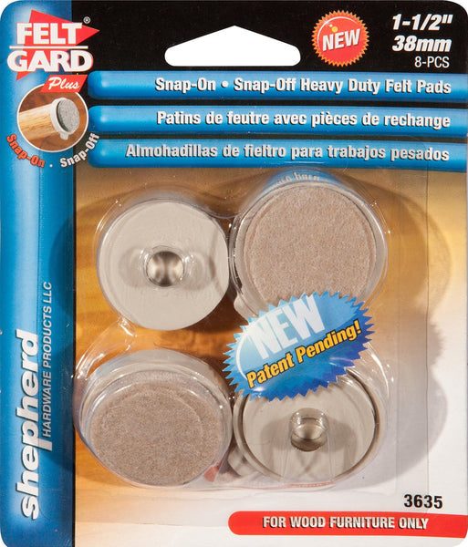 Shepherd Hardware 3635 1-1/2-Inch Heavy Duty Snap-On/Snap-Off Furniture Pads, 4-Count - Fresh Colony