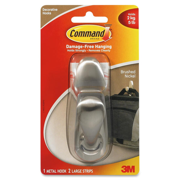 Command Adhesive Mount Metal Hook, Large, Brushed Nickel Finish - Fresh Colony