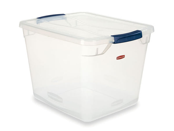 Rubbermaid Clever Store Latching Storage Tote Container, Clear, 30-Quart - Fresh Colony
