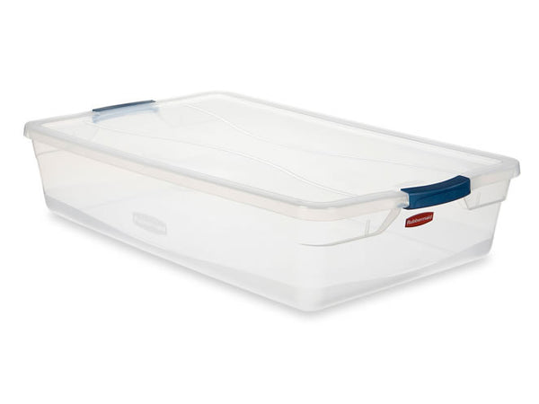 Rubbermaid 3Q2900CLMCB Storage Tote with Blueberry Frost Latch, 41 Quart, Clear - Fresh Colony