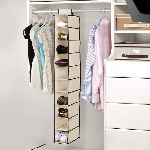Kennedy Home Collection 5178 10 Shelf Hanging Shoe/Purse Organizer, Black/Cream - Fresh Colony