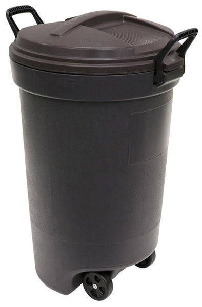 Rubbermaid RM133901 Thirty Two Gallon Black Wheeled Trash Can with Lid-32 Gallon/121.1L Refuse Container with Locking Handles and Wheels in Black - Fresh Colony