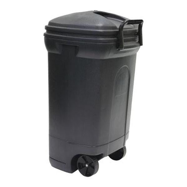 United Solutions TB0010 Rough and Rugged Rectangular 34 Gallon Wheeled  Black Outdoor Trash Can with Hook&Lock Handle-Thirty Four Gallon Garbage Can with Locking Handles - Fresh Colony