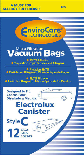 EnviroCare Vacuum Bags for Electrolux Canister - Style C - Generic (Bag of 12) - Fresh Colony