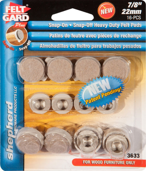 Shepherd Hardware 3633 7/8-Inch Heavy Duty Snap-On/Snap-Off Furniture Pads, 8-Count - Fresh Colony