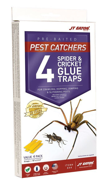 JT Eaton 844 Pest Catchers Large Spider and Cricket Size Attractant Scented Glue Trap, 4 Traps - Fresh Colony