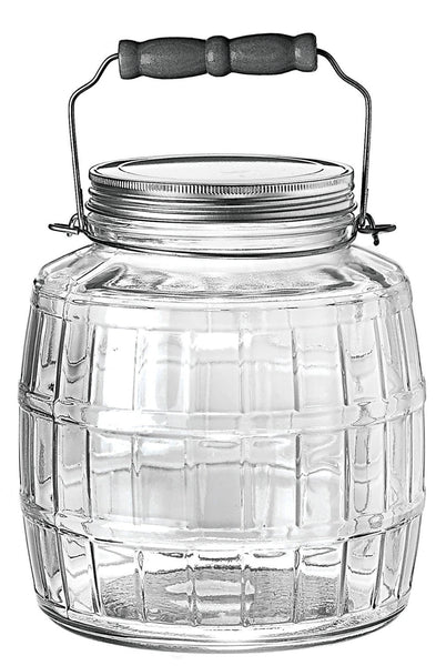 Anchor Hocking 1-Gallon Glass Barrel Jar with Brushed Aluminum Lid, Set of 2 - Fresh Colony