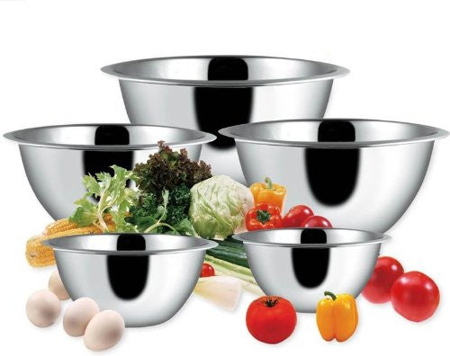 BC Classics 5-Piece Deep Stainless Steel Mixing Bowl Set - Fresh Colony