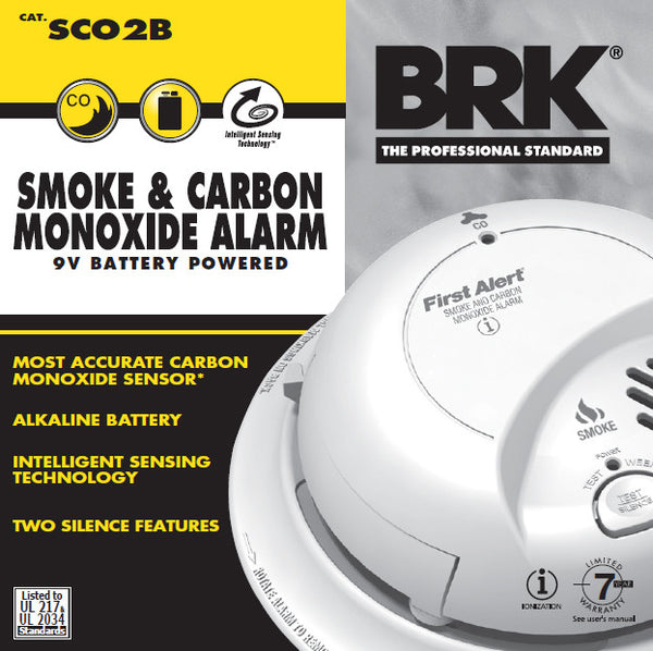 BRK Electronics SCO2B Smoke and Carbon Monoxide Alarm with 9V Battery - Fresh Colony
