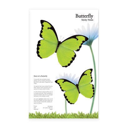 MOLLA SPACE - BUTTERFLY STICKY NOTES (GREEN) - Fresh Colony  - 2