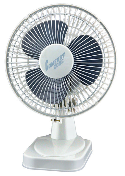 "Comfort Zone CZ6D - 6"" Table Fan, White - Fresh Colony"