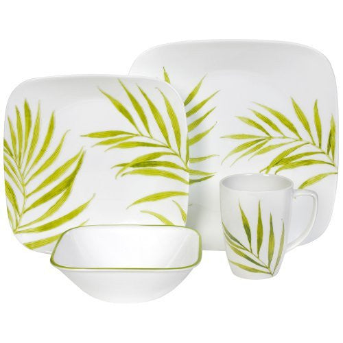 CORELLE 16-PIECE BAMBOO LEAF SQUARE DINNERWARE SET 1074309 - Fresh Colony