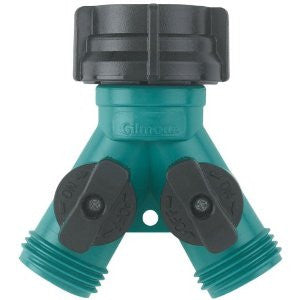 Gilmour 17 Twin Shut-Off Valves Hose Connector, Teal/Black - Fresh Colony