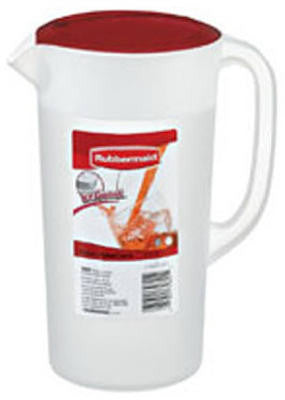 RUBBERMAID Covered Pitcher 2.25 qt - White with Red Cover - Fresh Colony