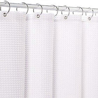 Carnation Home Fashions Fabric 70-Inch by 72-Inch Shower Curtain Liner, White - Fresh Colony