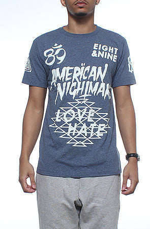 8&9 Clothing The American Nightmare Jersey Tee in Vintage Blue - Fresh Colony  - 1