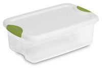 Sterilite 18828012 6-Quart See-Through Latch Box with White Lid and Peacock Latches - Fresh Colony