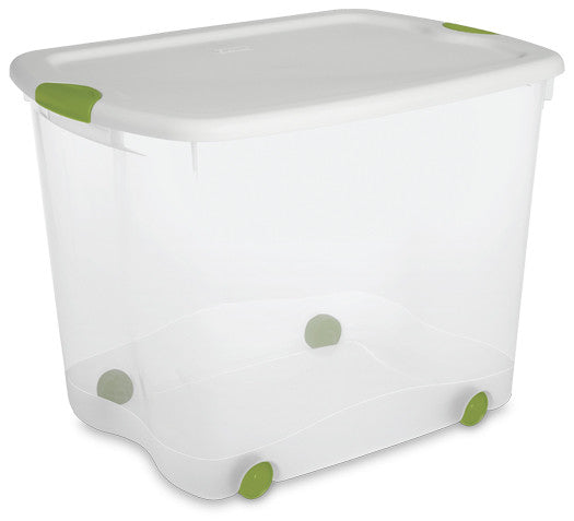 Sterilite 18878004 88-Quart See-Through Wheeled Latch Box with White Lid and Peacock Latches - Fresh Colony
