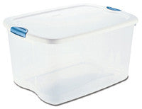 Sterilite 18888004, 66-Quart Latch Box, See through with White Lid and Blue Aquarium Latches - Fresh Colony