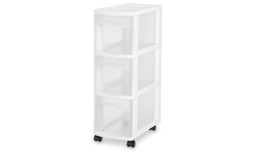 Sterilite 27308003 3-Drawer Narrow Cart with See-Through Drawers and Black Casters, White - Fresh Colony