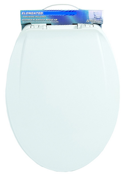 Aqua Plumb Aqua Plumb CTS380W Elongated Plastic Toilet Seat - White - Fresh Colony