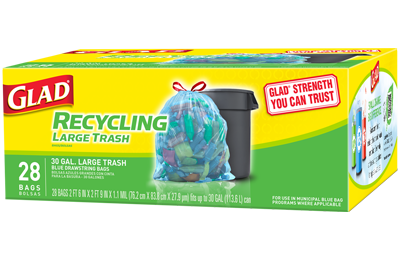 Glad Recycling Drawstring Large Trash Bags, Blue, 30 Gallon, 28 Count - Fresh Colony