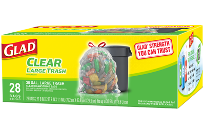 Glad Outdoor Drawstring Large Recycling Trash Bags, 30 Gallon, 28 Count - Fresh Colony