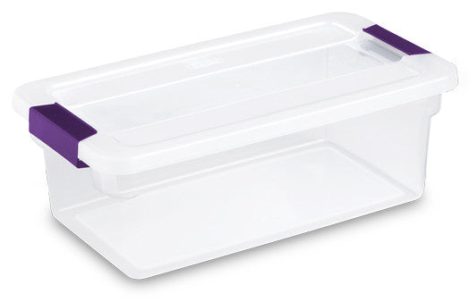 Sterilite 17511712 6 Quart Clearview LatchTM Storage Container With Plum Handles - Fresh Colony