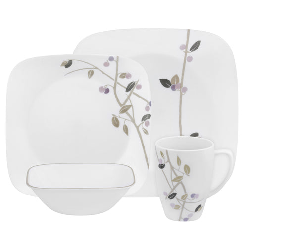 Corelle 16-Piece Vitrelle Glass Midnight Garden Chip and Break Resistant Dinner Set, Service for 4, Purple - Fresh Colony