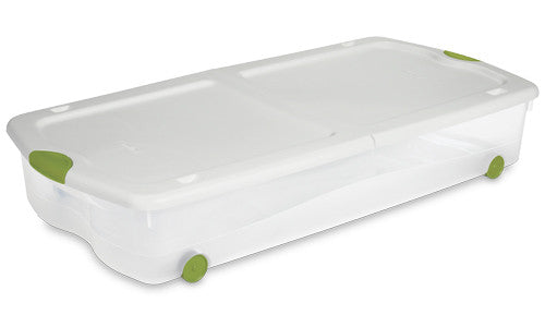 Sterilite 18958004 67-Quart See-Through Wheeled Underbed Latch Box with White Lid and Peacock Latches - Fresh Colony