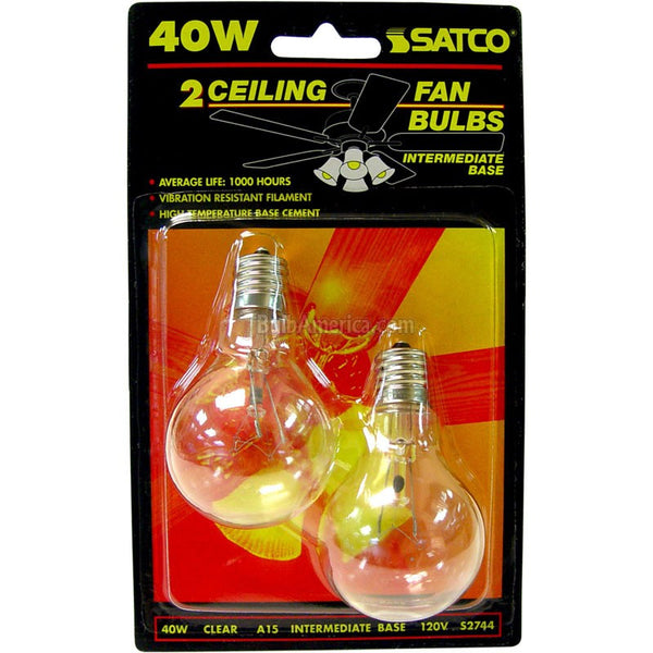Satco S2744 120V Intermediate Base 40-Watt A15 Light Bulb, Clear - Fresh Colony