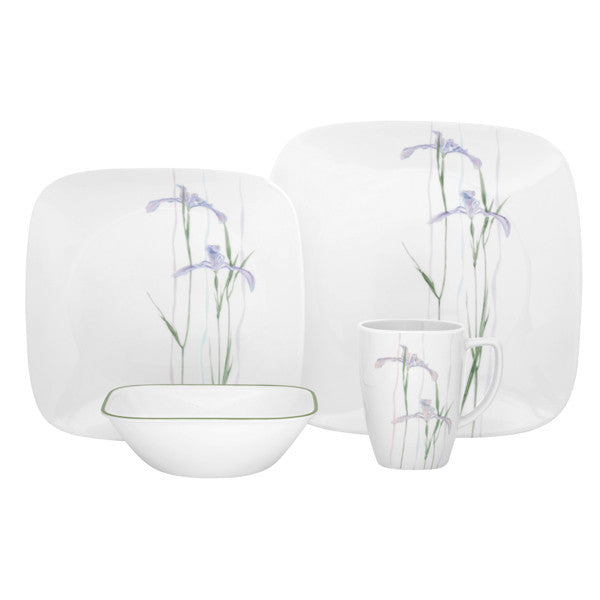 Corelle Square 16-Piece Dinnerware Set, Shadow Iris, Service for 4 - Fresh Colony
