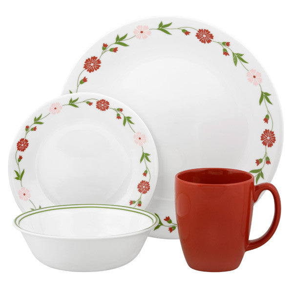 Corelle Contours 16-Piece Dinnerware Set, Spring Pink, Service for 4 - Fresh Colony