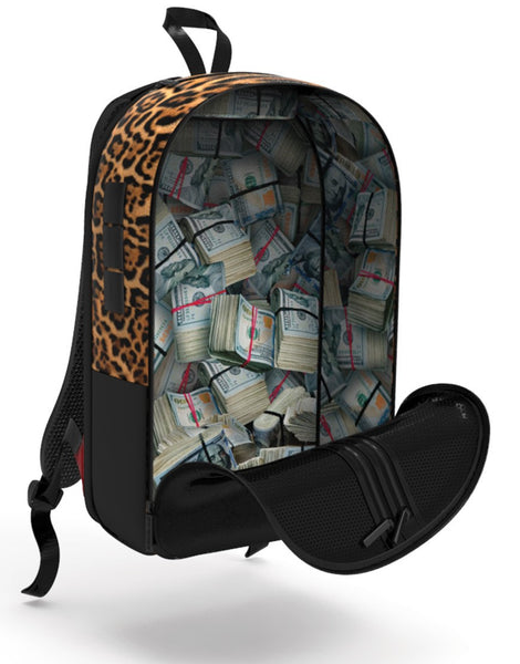 Sprayground - $TASHED MONEY LEOPARD POLYESTER BACKPACK - Fresh Colony  - 1