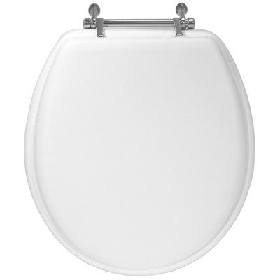 Aqua Plumb Aqua Plumb TS100W-CH Round Chrome Hinge Wood Toilet Seat - White - Fresh Colony