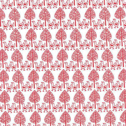 Westfalenstoffe ~ Tree Chicks Red on White - Billow Fabrics  - 2