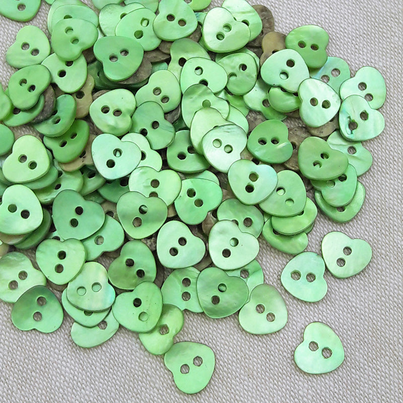 Mother of Pearl Heart Buttons Green ~ 10mm