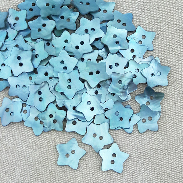 Mother of Pearl Star Buttons Blue ~ 15mm