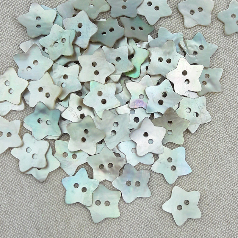 Mother of Pearl Star Buttons Natural ~ 15mm