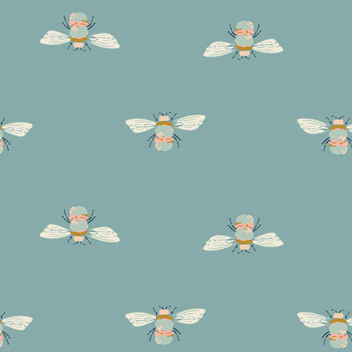 Bumblebuzz ~ Teal - Billow Fabrics  - 1