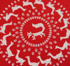 Fox Circle Hankie ~ Red - Billow Fabrics  - 1