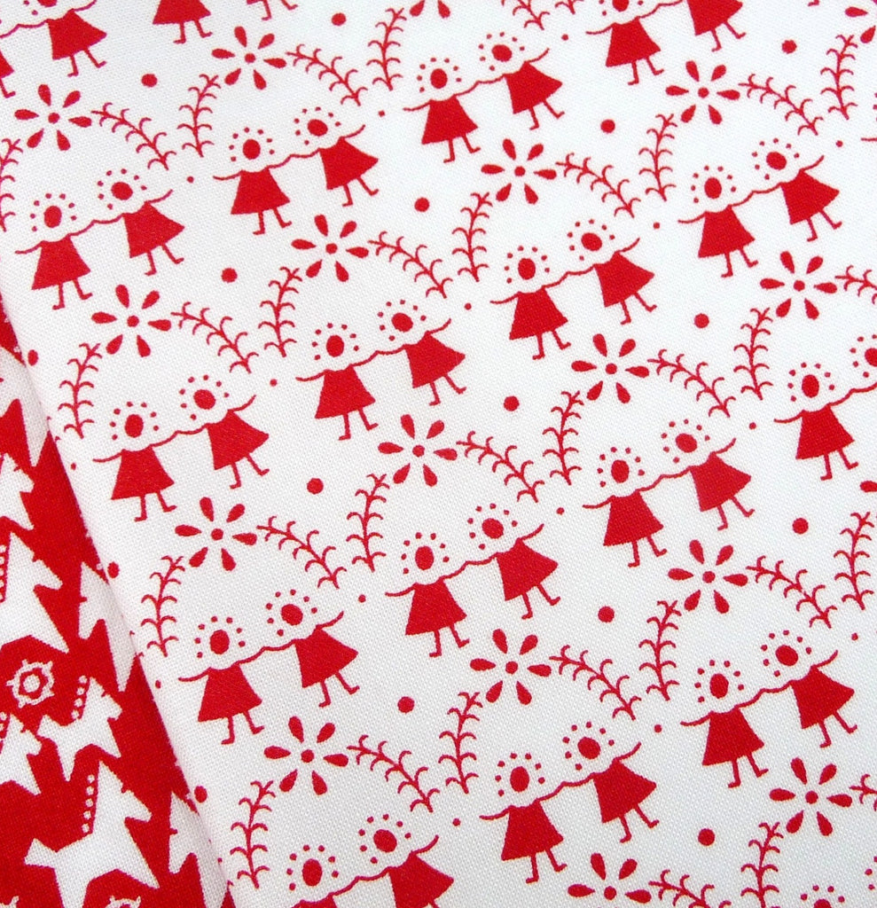 Westfalenstoffe ~ Flower Children Red on White - Billow Fabrics  - 1