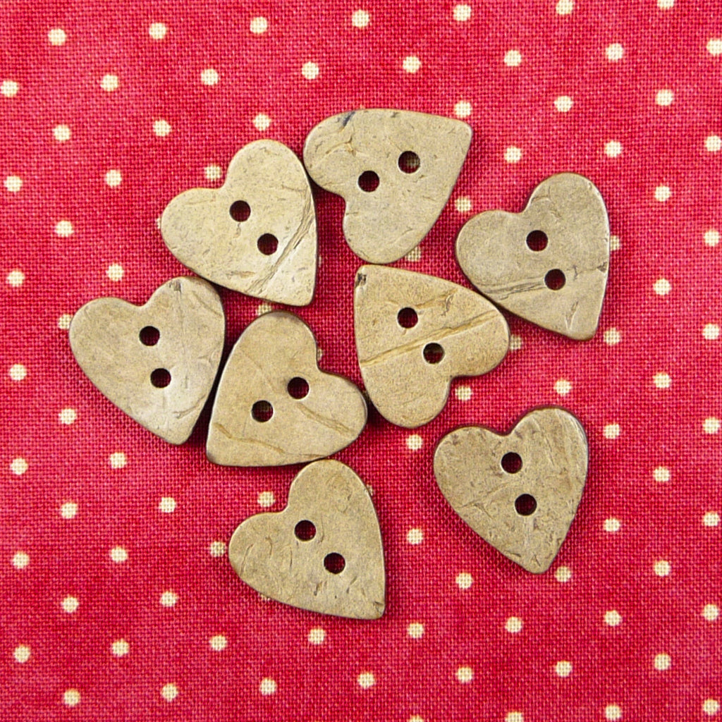 Coconut Heart Buttons 15mm - Billow Fabrics