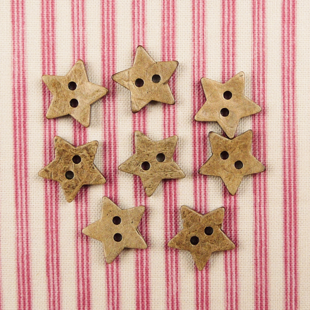 Coconut Star Buttons ~15mm - Billow Fabrics