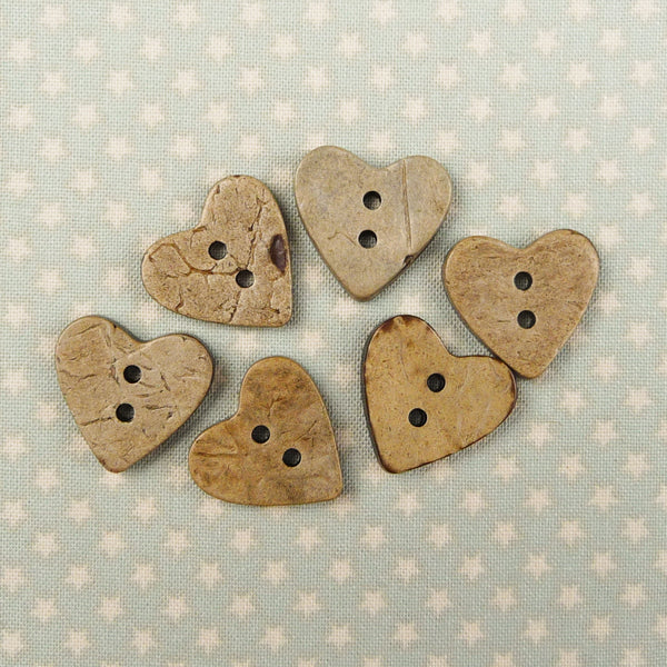 Coconut Heart Buttons 20mm