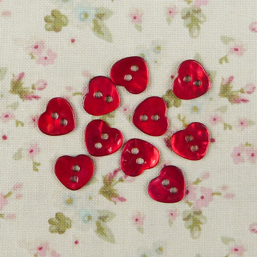 Mother of Pearl Heart Buttons Red ~ 10mm - Billow Fabrics