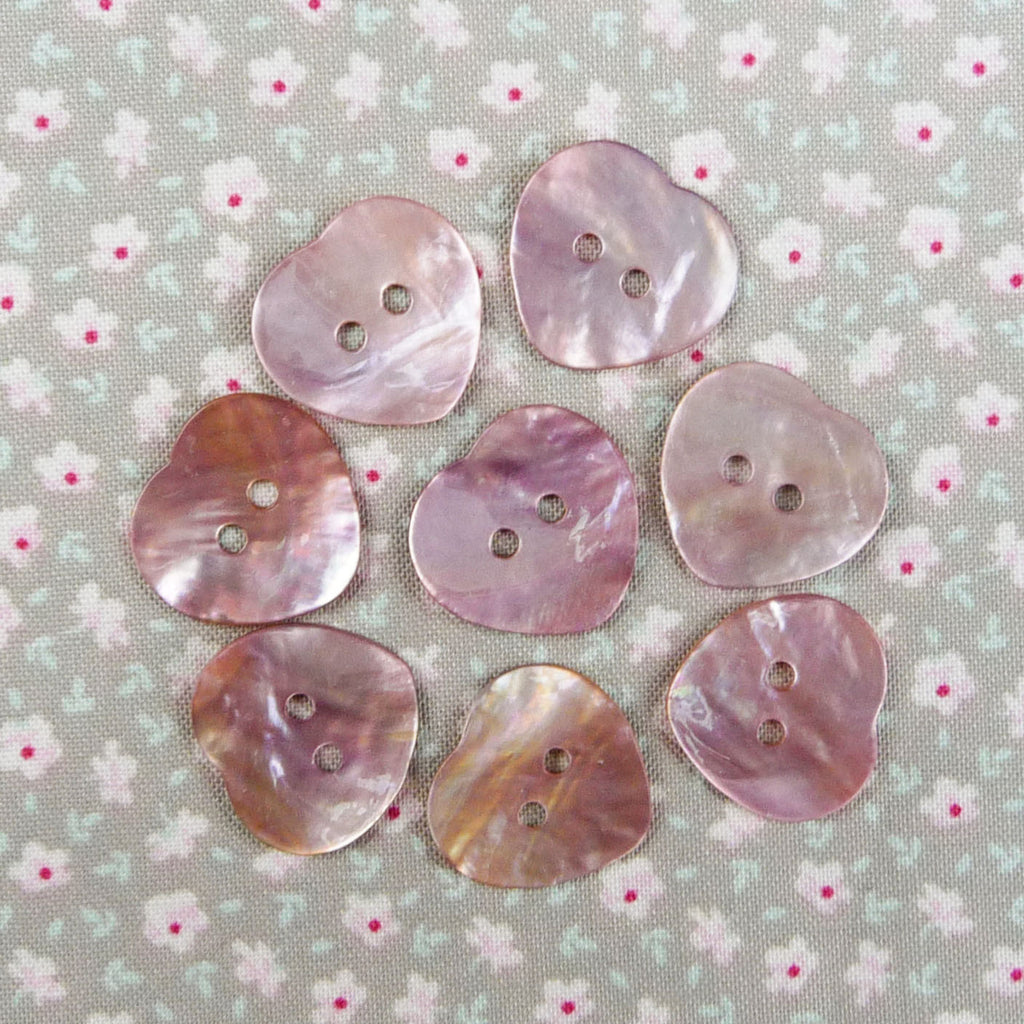 Mother of Pearl Heart Buttons Pink ~ 20mm - Billow Fabrics