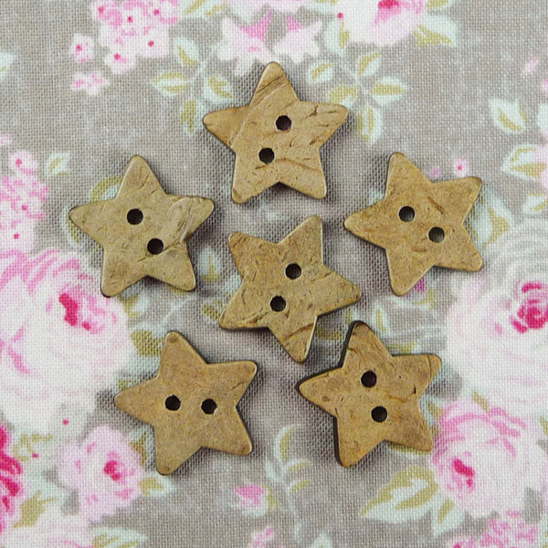 Coconut Star Buttons ~ 20mm